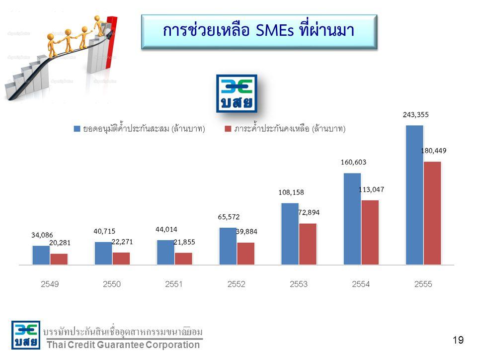 บรรษัทประกันสินเชื่ออุตสาหกรรมขนาดย่อม Thai Credit Guarantee Corporation การช่วยเหลือ SMEs ที่ผ่านมา 19