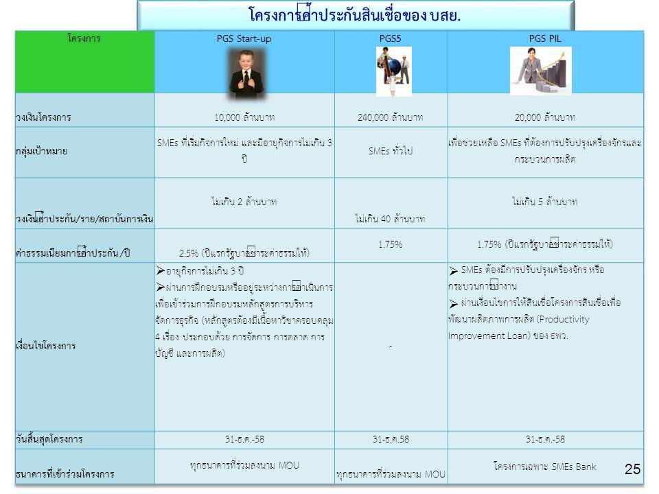 บรรษัทประกันสินเชื่ออุตสาหกรรมขนาดย่อม Thai Credit Guarantee Corporation โครงการค้ำประกันสินเชื่อของ บสย. 25