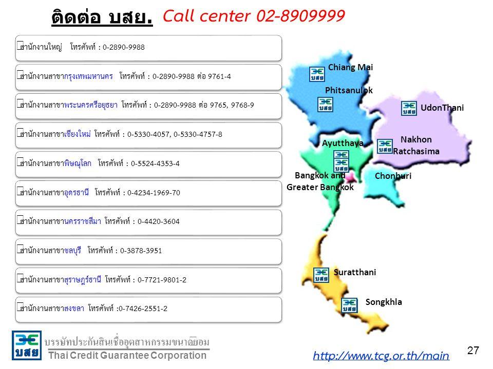 บรรษัทประกันสินเชื่ออุตสาหกรรมขนาดย่อม Thai Credit Guarantee Corporation ติดต่อ บสย. Chiang Mai Phitsanulok UdonThani Nakhon Ratchasima Chonburi Ayutt