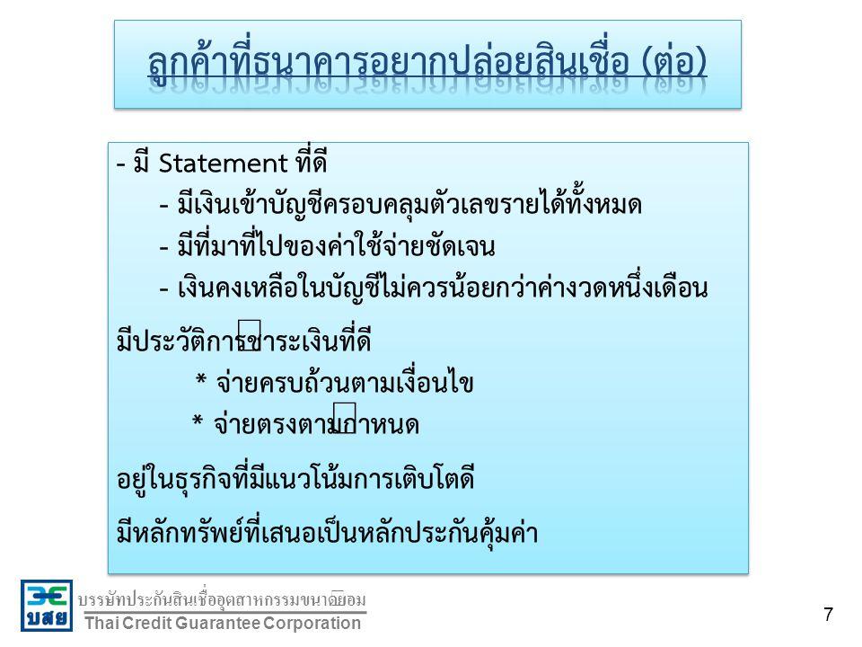 บรรษัทประกันสินเชื่ออุตสาหกรรมขนาดย่อม Thai Credit Guarantee Corporation - มี Statement ที่ดี - มีเงินเข้าบัญชีครอบคลุมตัวเลขรายได้ทั้งหมด - มีที่มาที่ไปของค่าใช้จ่ายชัดเจน - เงินคงเหลือในบัญชีไม่ควรน้อยกว่าค่างวดหนึ่งเดือน มีประวัติการชำระเงินที่ดี * จ่ายครบถ้วนตามเงื่อนไข * จ่ายตรงตามกำหนด อยู่ในธุรกิจที่มีแนวโน้มการเติบโตดี มีหลักทรัพย์ที่เสนอเป็นหลักประกันคุ้มค่า - มี Statement ที่ดี - มีเงินเข้าบัญชีครอบคลุมตัวเลขรายได้ทั้งหมด - มีที่มาที่ไปของค่าใช้จ่ายชัดเจน - เงินคงเหลือในบัญชีไม่ควรน้อยกว่าค่างวดหนึ่งเดือน มีประวัติการชำระเงินที่ดี * จ่ายครบถ้วนตามเงื่อนไข * จ่ายตรงตามกำหนด อยู่ในธุรกิจที่มีแนวโน้มการเติบโตดี มีหลักทรัพย์ที่เสนอเป็นหลักประกันคุ้มค่า 7