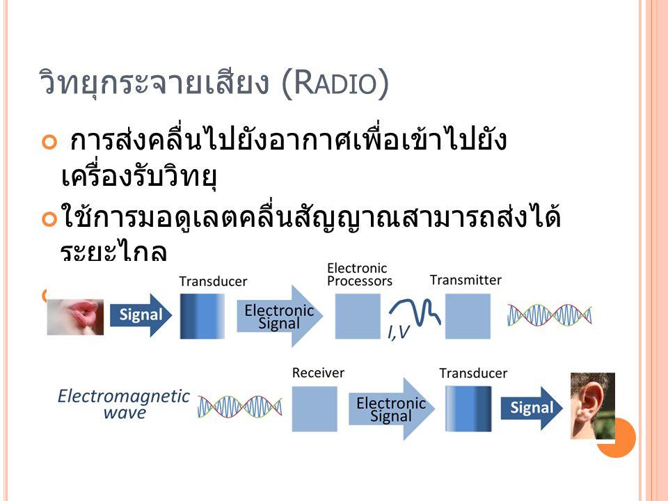 วิทยุกระจายเสียง (R ADIO ) การส่งคลื่นไปยังอากาศเพื่อเข้าไปยัง เครื่องรับวิทยุ ใช้การมอดูเลตคลื่นสัญญาณสามารถส่งได้ ระยะไกล ไม่ต้องใช้สาย