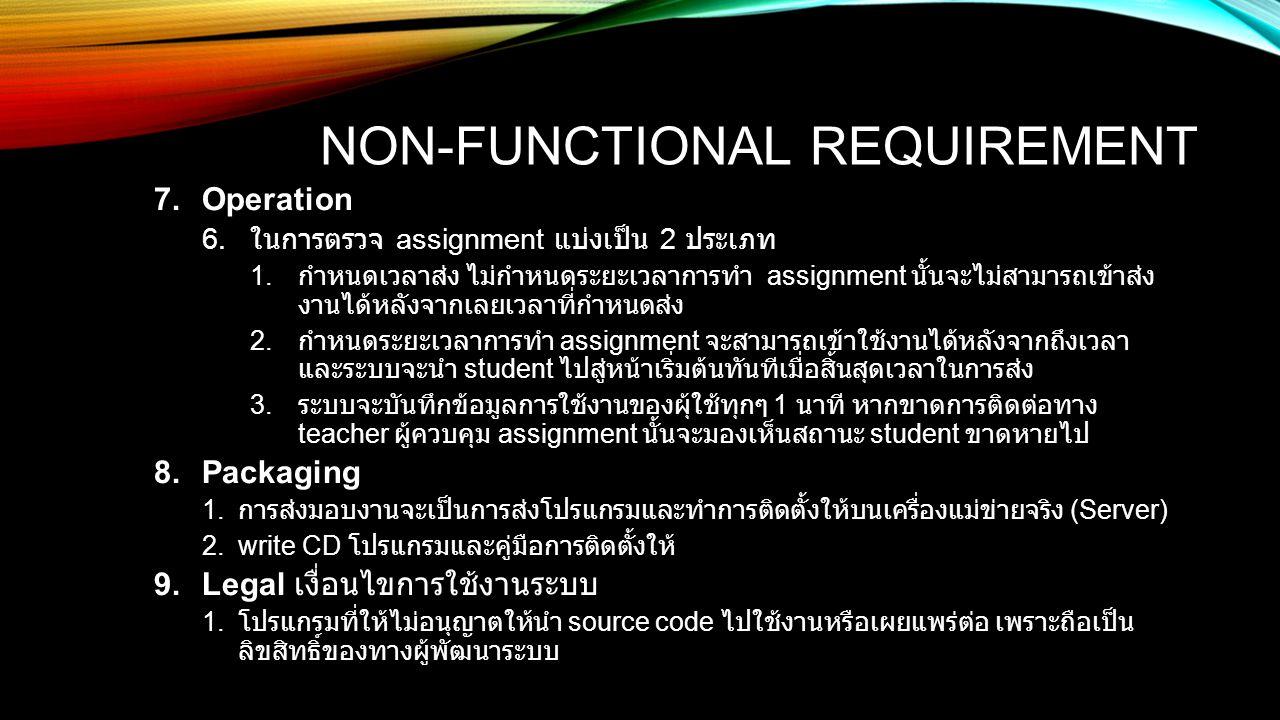 NON-FUNCTIONAL REQUIREMENT 7.Operation 6. ในการตรวจ assignment แบ่งเป็น 2 ประเภท 1. กำหนดเวลาส่ง ไม่กำหนดระยะเวลาการทำ assignment นั้นจะไม่สามารถเข้าส