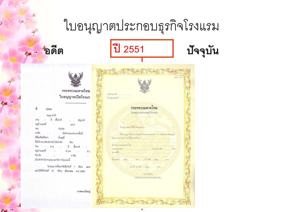 ใบอนุญาตประกอบธุรกิจโรงแรม อดีตปัจจุบัน ปี 2551