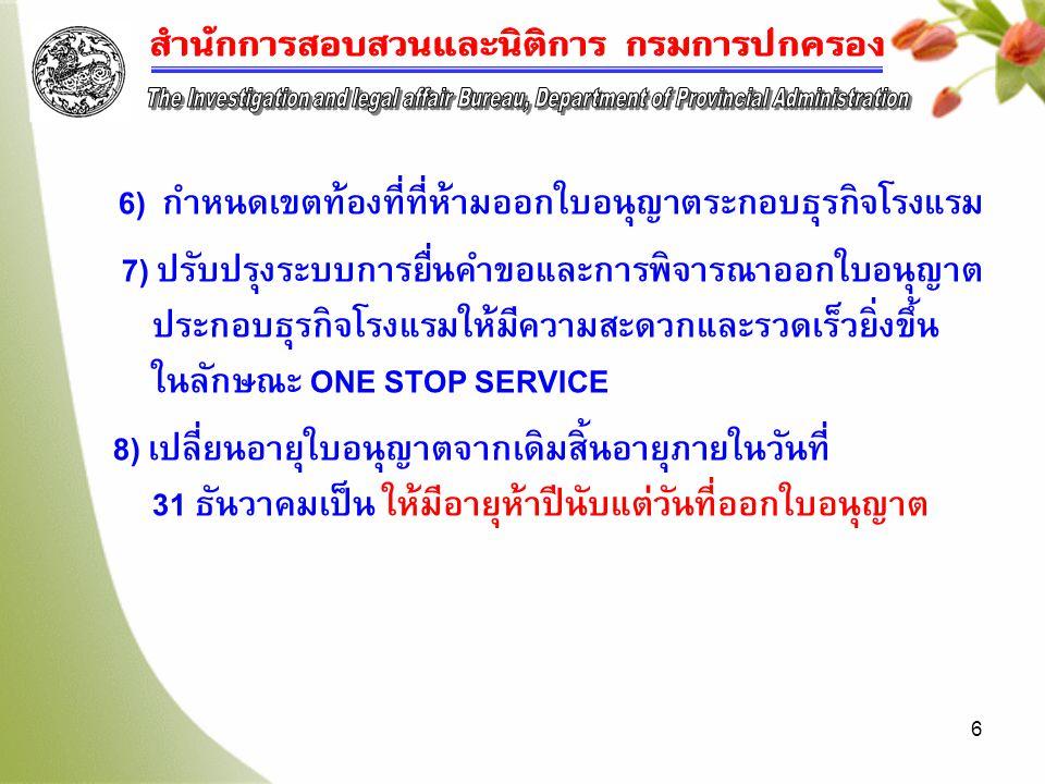 6 6) กำหนดเขตท้องที่ที่ห้ามออกใบอนุญาตระกอบธุรกิจโรงแรม 7) ปรับปรุงระบบการยื่นคำขอและการพิจารณาออกใบอนุญาต ประกอบธุรกิจโรงแรมให้มีความสะดวกและรวดเร็วยิ่งขึ้น ในลักษณะ ONE STOP SERVICE 8) เปลี่ยนอายุใบอนุญาตจากเดิมสิ้นอายุภายในวันที่ 31 ธันวาคมเป็น ให้มีอายุห้าปีนับแต่วันที่ออกใบอนุญาต