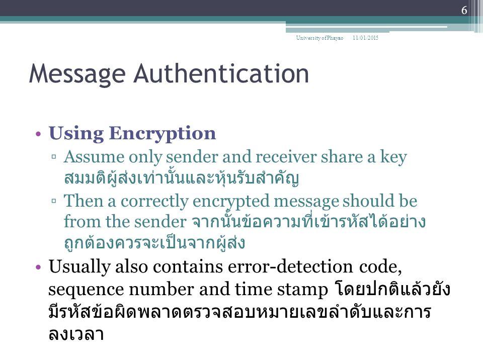 Example of RSA Algorithm 11/01/2015 37 University of Phayao