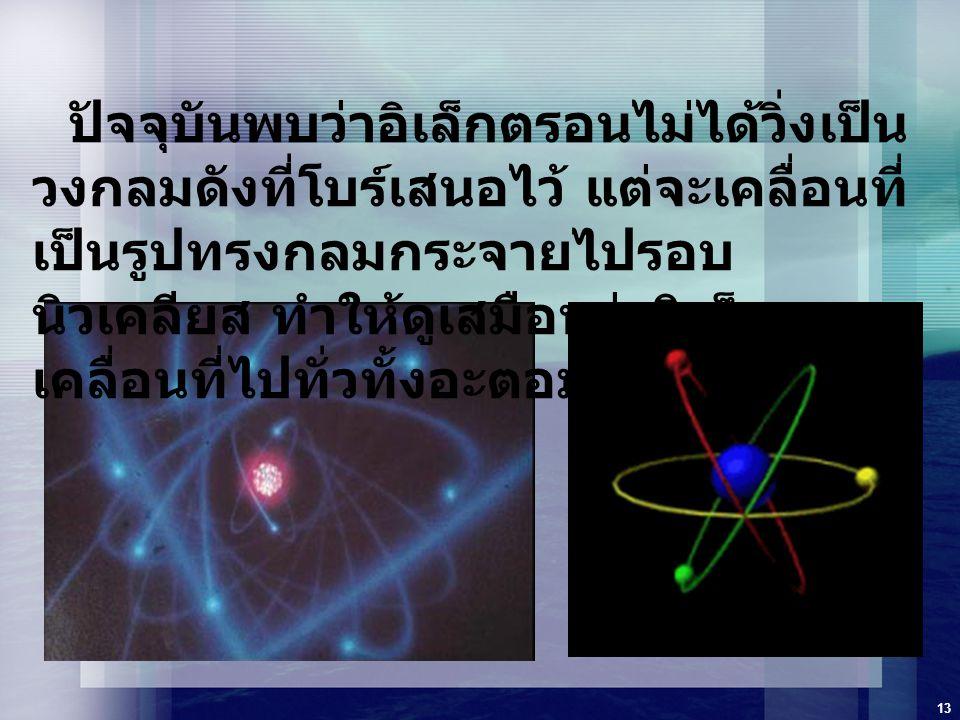 13 ปัจจุบันพบว่าอิเล็กตรอนไม่ได้วิ่งเป็น วงกลมดังที่โบร์เสนอไว้ แต่จะเคลื่อนที่ เป็นรูปทรงกลมกระจายไปรอบ นิวเคลียส ทำให้ดูเสมือนว่าอิเล็กตรอน เคลื่อนท