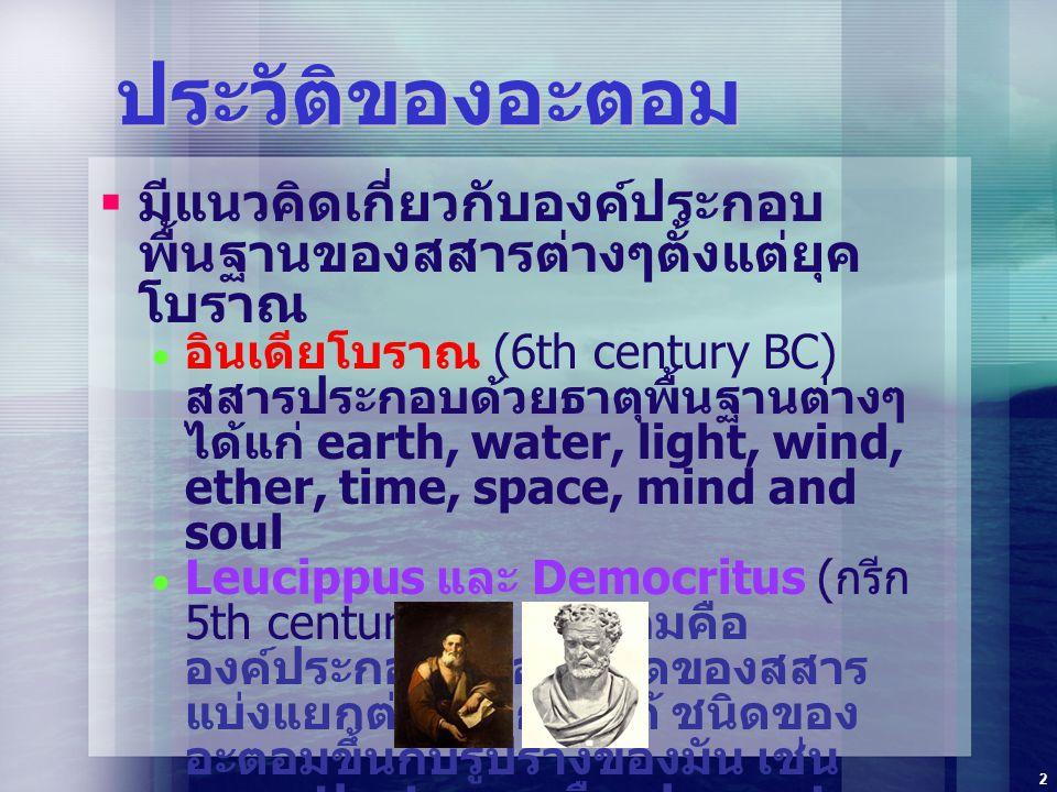 3 ทฤษฎีอะตอมของ ดาลตัน จอห์น ดาลตัน เสนอทฤษฎีอะตอม (Atomic Theory) ในปี ค.