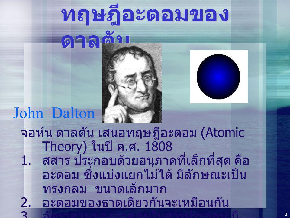 3 ทฤษฎีอะตอมของ ดาลตัน จอห์น ดาลตัน เสนอทฤษฎีอะตอม (Atomic Theory) ในปี ค. ศ. 1808  สสาร ประกอบด้วยอนุภาคที่เล็กที่สุด คือ อะตอม ซึ่งแบ่งแยกไม่ได้ ม
