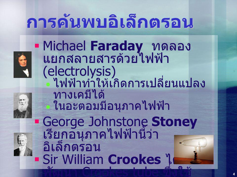 4 การค้นพบอิเล็กตรอน  Michael Faraday ทดลอง แยกสลายสารด้วยไฟฟ้า (electrolysis)  ไฟฟ้าทำให้เกิดการเปลี่ยนแปลง ทางเคมีได้  ในอะตอมมีอนุภาคไฟฟ้า  Geo
