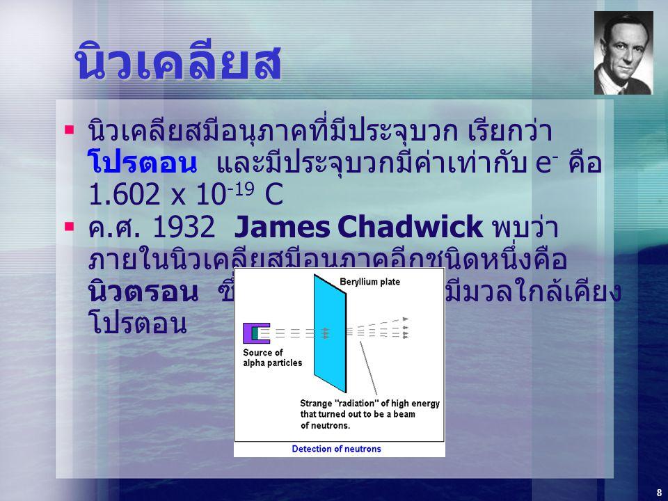 8 นิวเคลียส  นิวเคลียสมีอนุภาคที่มีประจุบวก เรียกว่า โปรตอน และมีประจุบวกมีค่าเท่ากับ e - คือ 1.602 x 10 -19 C  ค. ศ. 1932 James Chadwick พบว่า ภายใ