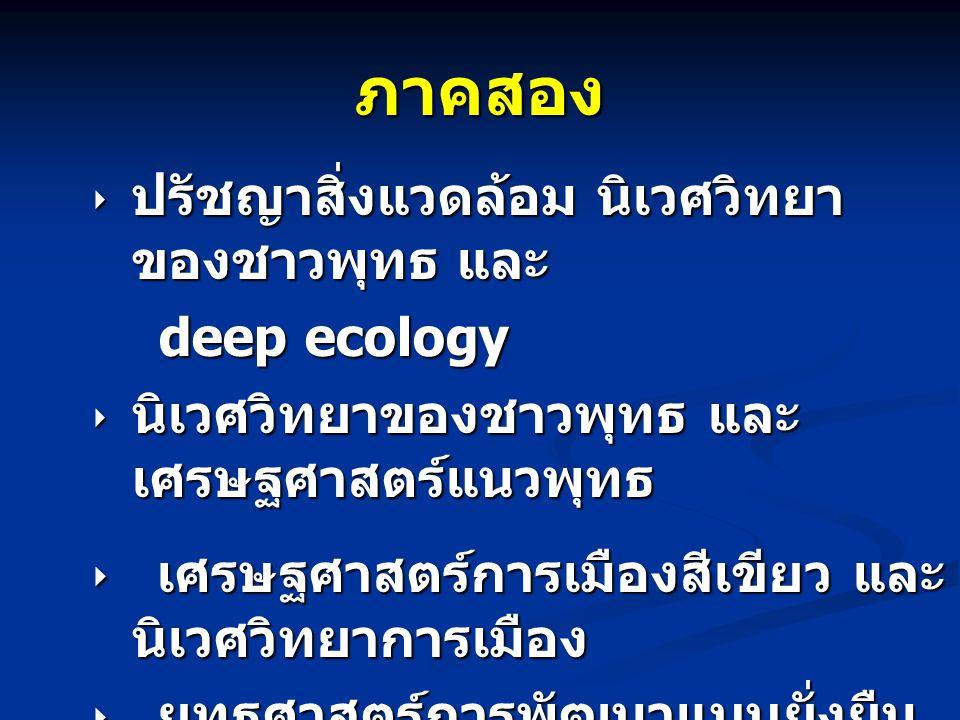 ภาคสอง  ปรัชญาสิ่งแวดล้อม นิเวศวิทยา ของชาวพุทธ และ deep ecology deep ecology  นิเวศวิทยาของชาวพุทธ และ เศรษฐศาสตร์แนวพุทธ  เศรษฐศาสตร์การเมืองสีเขียว และ นิเวศวิทยาการเมือง  ยุทธศาสตร์การพัฒนาแบบยั่งยืน