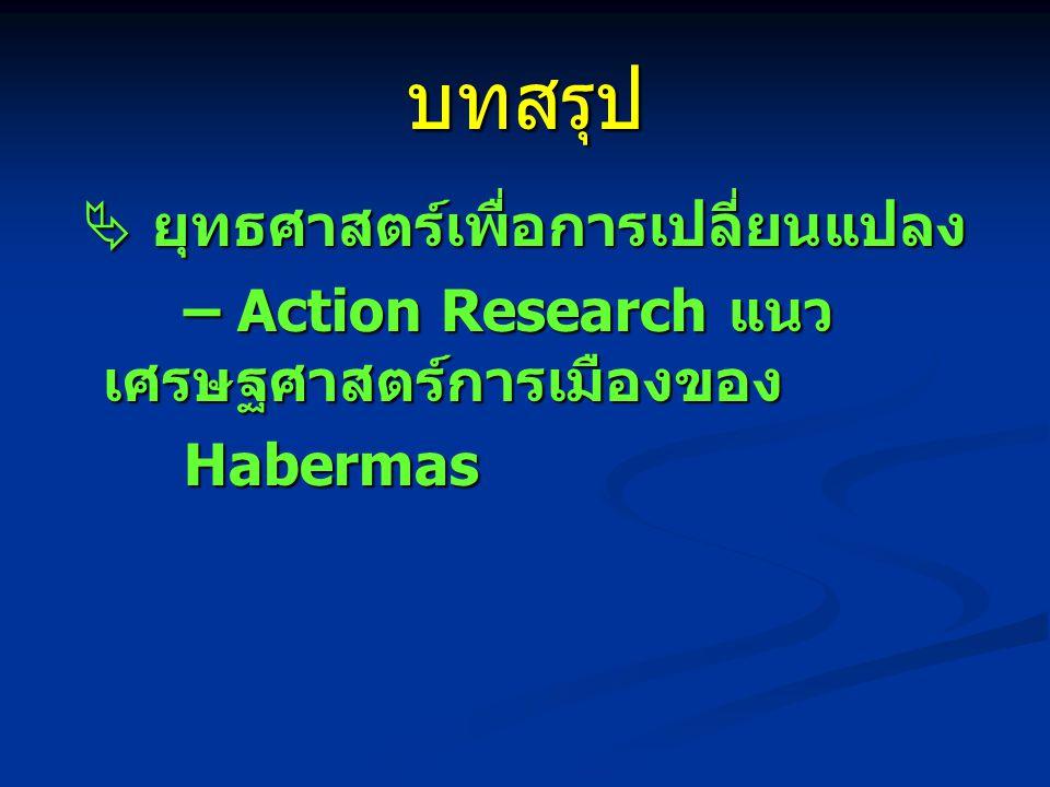 บทสรุป  ยุทธศาสตร์เพื่อการเปลี่ยนแปลง  ยุทธศาสตร์เพื่อการเปลี่ยนแปลง – Action Research แนว เศรษฐศาสตร์การเมืองของ – Action Research แนว เศรษฐศาสตร์การเมืองของ Habermas Habermas