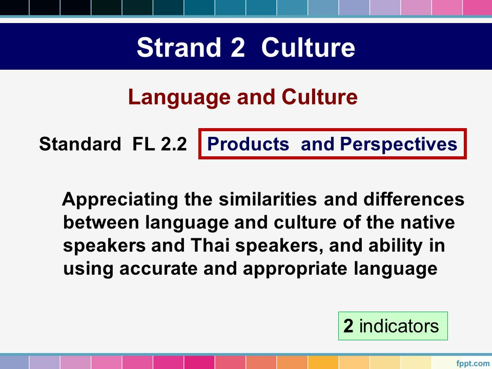 Strand 2 Culture Language and Culture Appreciating the similarities and differences between language and culture of the native speakers and Thai speak