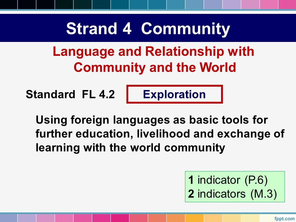 Strand 4 Community Language and Relationship with Community and the World Using foreign languages as basic tools for further education, livelihood and