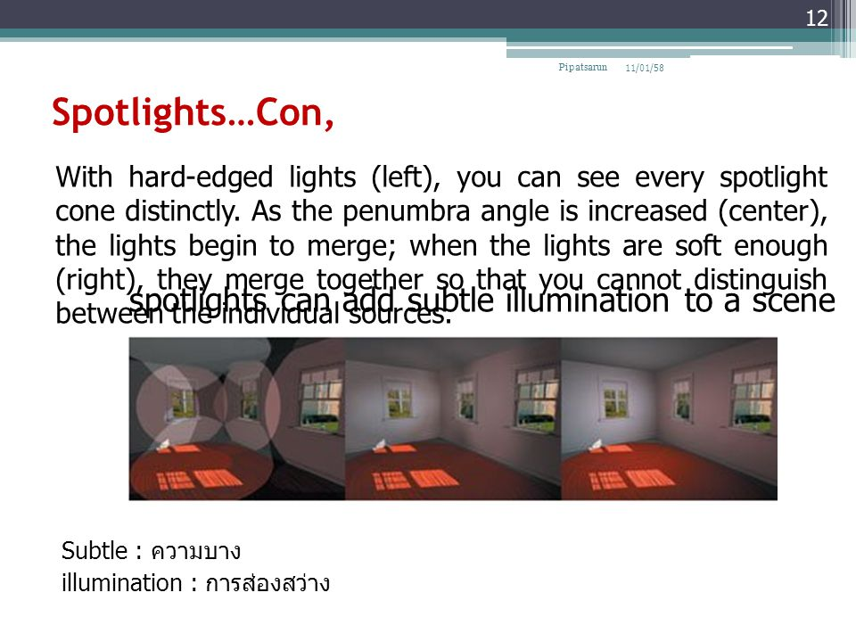 Spotlights…Con, Subtle : ความบาง illumination : การส่องสว่าง 11/01/58Pipatsarun 12 With hard-edged lights (left), you can see every spotlight cone dis
