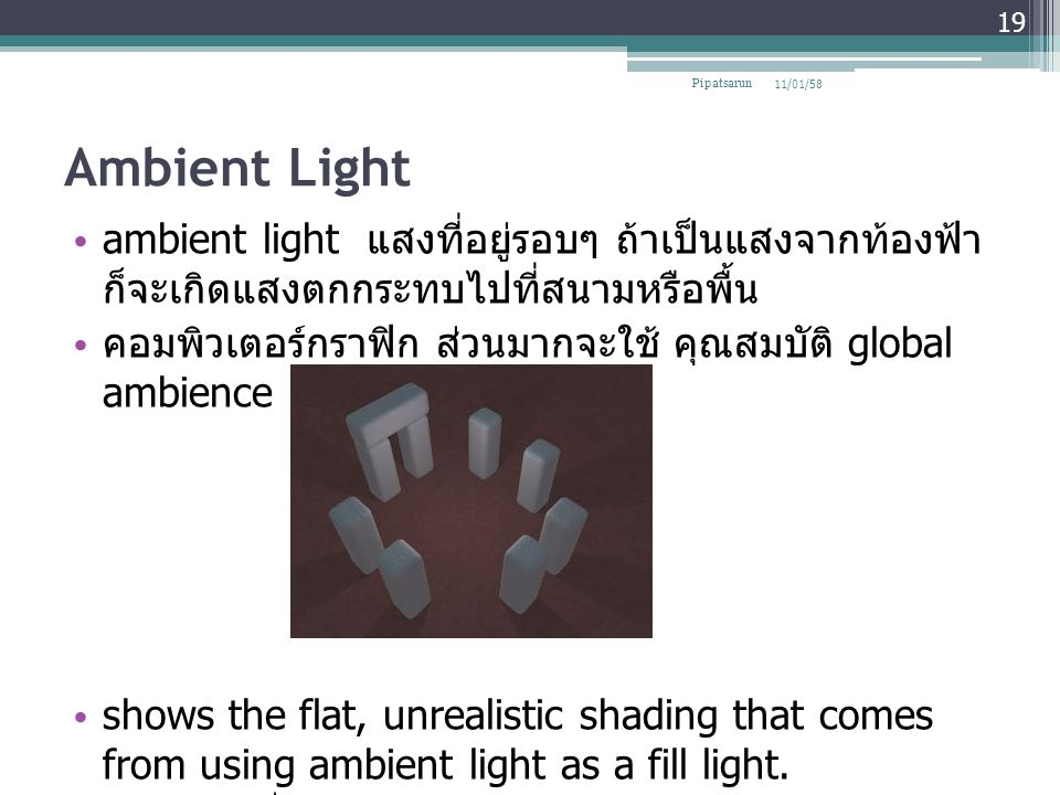 Ambient Light ambient light แสงที่อยู่รอบๆ ถ้าเป็นแสงจากท้องฟ้า ก็จะเกิดแสงตกกระทบไปที่สนามหรือพื้น คอมพิวเตอร์กราฟิก ส่วนมากจะใช้ คุณสมบัติ global am