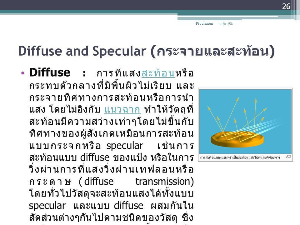 Diffuse and Specular ( กระจายและสะท้อน ) Diffuse : การที่แสงสะท้อนหรือ กระทบตัวกลางที่มีพื้นผิวไม่เรียบ และ กระจายทิศทางการสะท้อนหรือการนำ แสง โดยไม่อ