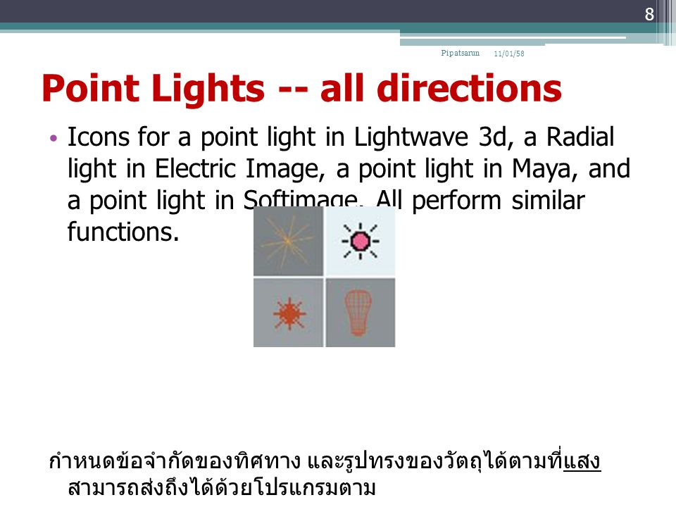 Point Lights -- all directions Icons for a point light in Lightwave 3d, a Radial light in Electric Image, a point light in Maya, and a point light in