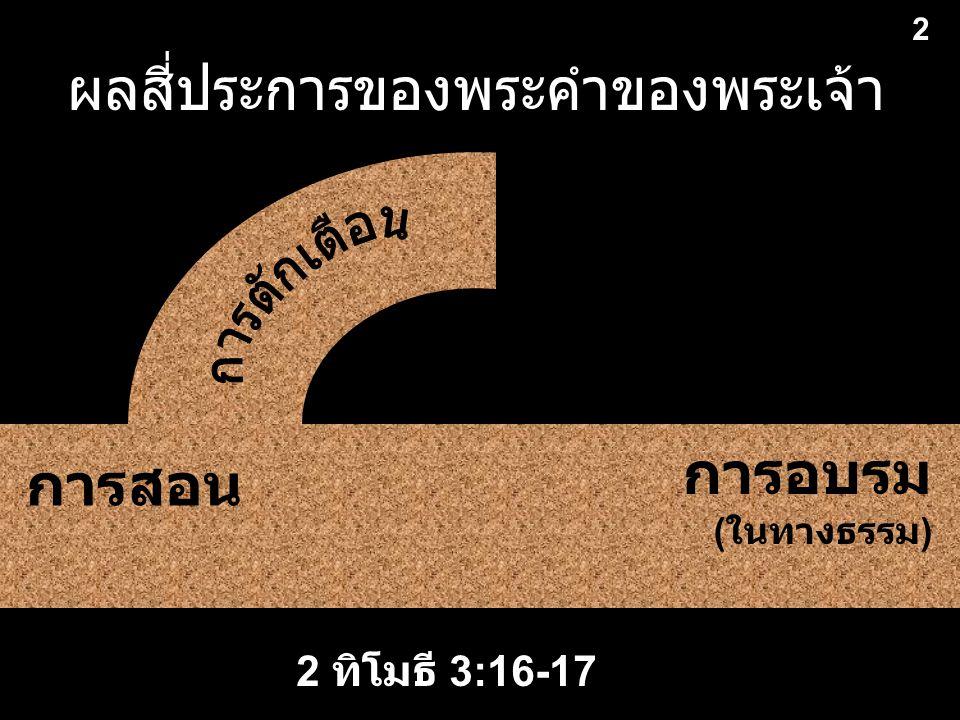 ผลสี่ประการของพระคำของพระเจ้า 2 2 การสอน การอบรม ( ในทางธรรม ) 2 ทิโมธี 3:16-17