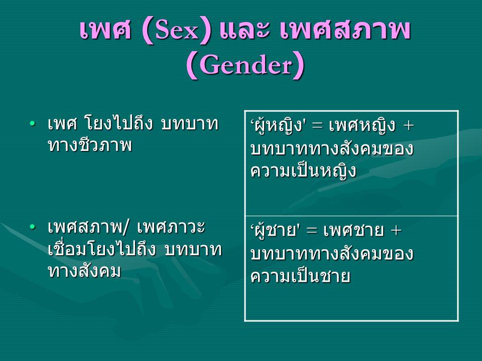 เพศ (Sex) และ เพศสภาพ (Gender) เพศ โยงไปถึง บทบาท ทางชีวภาพ เพศ โยงไปถึง บทบาท ทางชีวภาพ เพศสภาพ / เพศภาวะ เชื่อมโยงไปถึง บทบาท ทางสังคม เพศสภาพ / เพศ