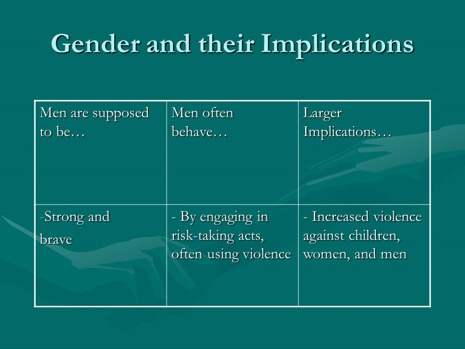Gender and their Implications Men are supposed to be… Men often behave… Larger Implications… -Strong and brave - By engaging in risk-taking acts, ofte