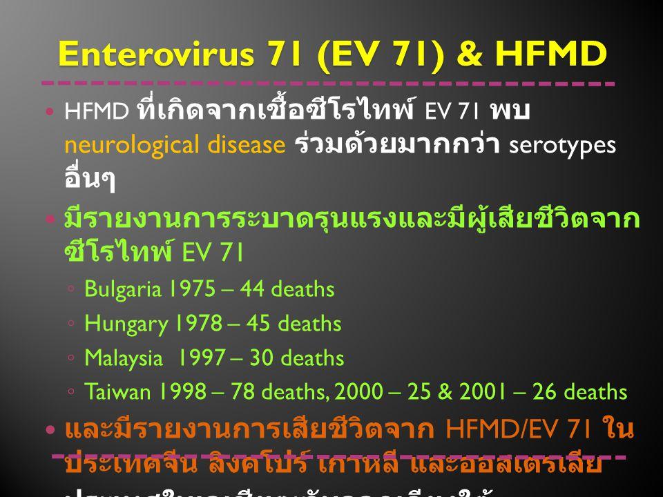 HFMD ที่เกิดจากเชื้อซีโรไทพ์ EV 71 พบ neurological disease ร่วมด้วยมากกว่า serotypes อื่นๆ มีรายงานการระบาดรุนแรงและมีผู้เสียชีวิตจาก ซีโรไทพ์ EV 71 ◦