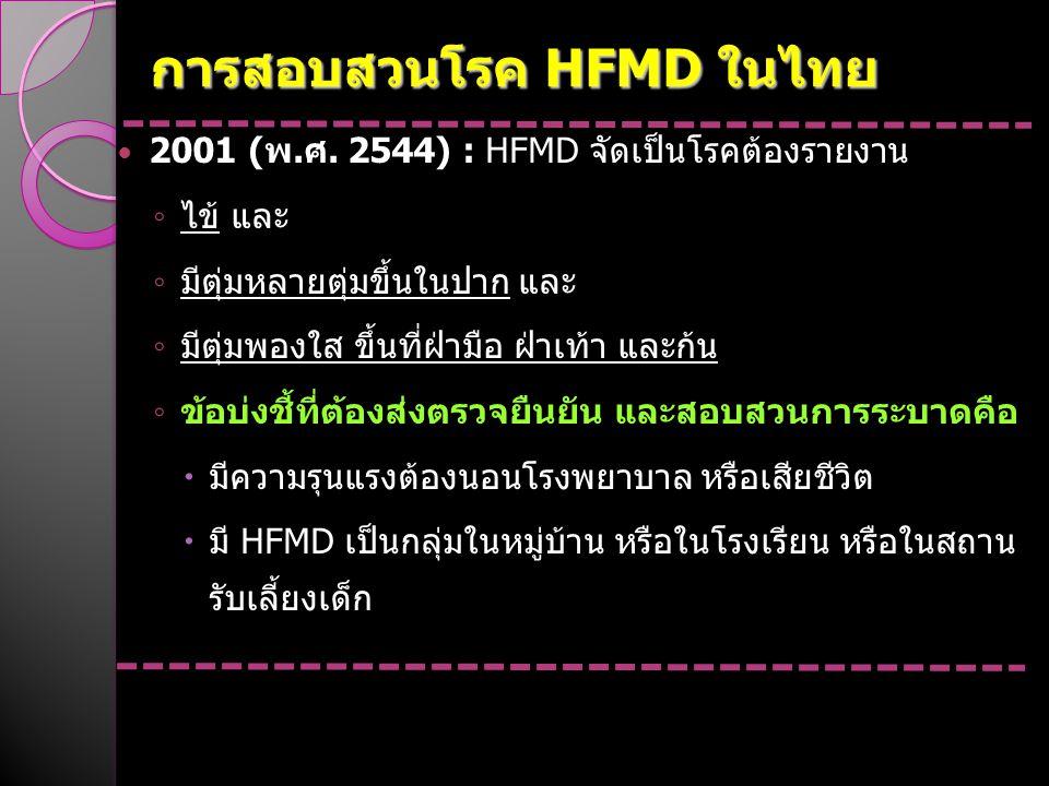 การสอบสวนโรค HFMD ในไทย 2001 (พ.ศ. 2544) : HFMD จัดเป็นโรคต้องรายงาน ◦ ไข้ และ ◦ มีตุ่มหลายตุ่มขึ้นในปาก และ ◦ มีตุ่มพองใส ขึ้นที่ฝ่ามือ ฝ่าเท้า และก้