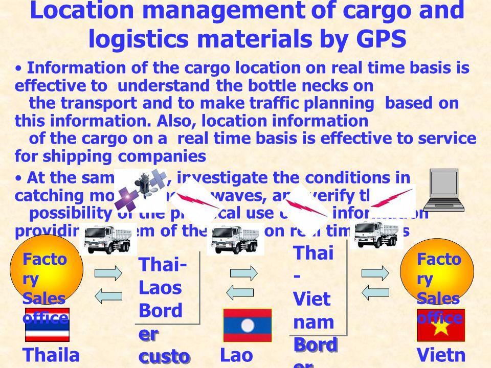 โครงการ Common Projects ที่เสนอใหม่ ภายใต้ ACMECS 3. โครงการนำระบบ GPS (Global Positioning System) และระบบ RFID (Radio Frequency Identification Tags S