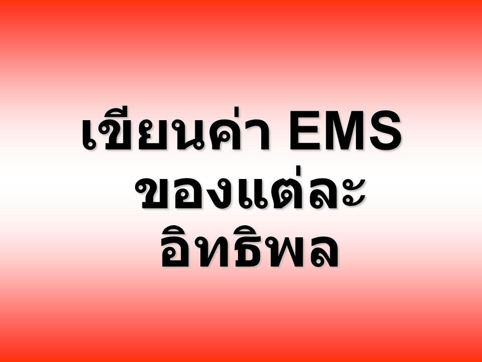 เขียนค่า EMS ของแต่ละ อิทธิพล