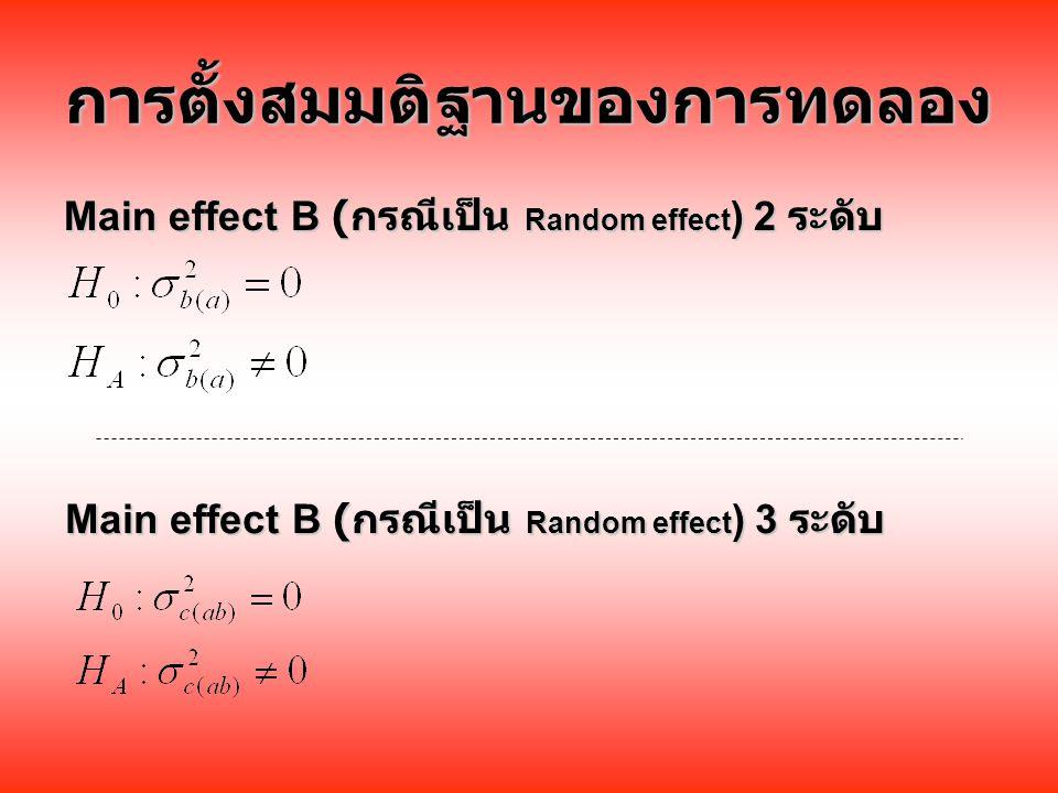 การตั้งสมมติฐานของการทดลอง Main effect B ( กรณีเป็น Random effect ) 2 ระดับ Main effect B ( กรณีเป็น Random effect ) 3 ระดับ