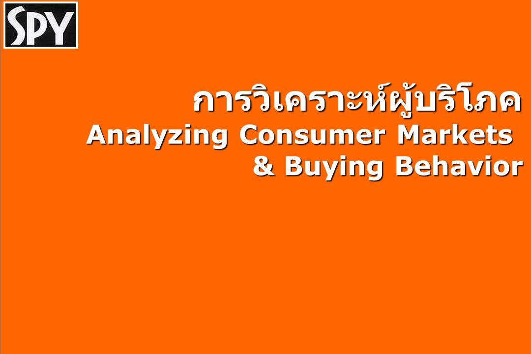 Today's Agenda Understanding Consumer Analyzing Consumer Markets  Market Segmentation Analyzing Consumer Buyer Behavior  The Buying Habits  The Buying Decision Process Case Study : Spy