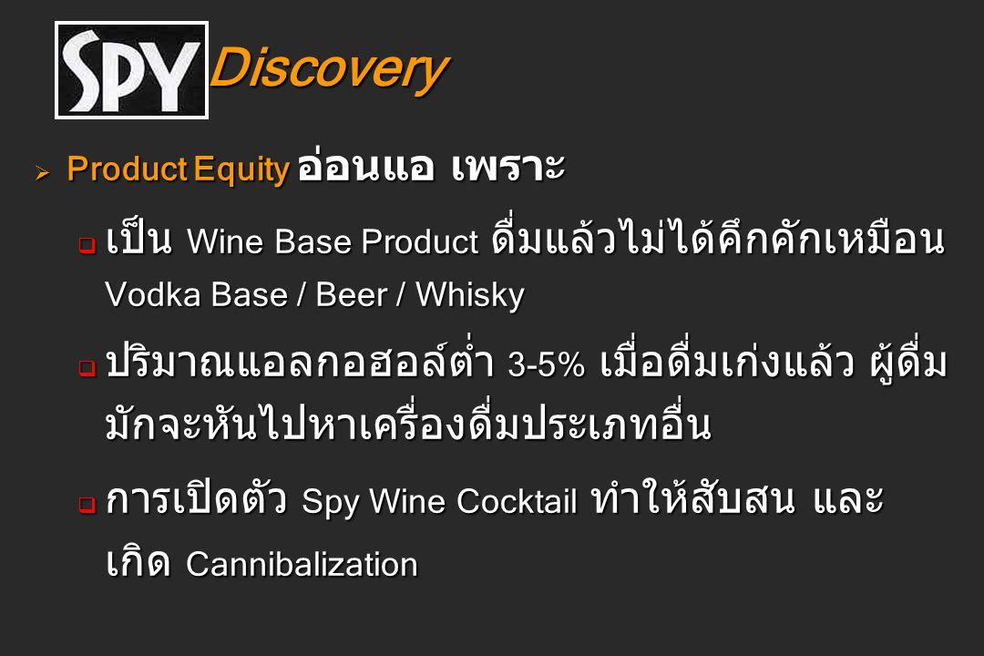 Discovery Discovery  Product Equity อ่อนแอ เพราะ  เป็น Wine Base Product ดื่มแล้วไม่ได้คึกคักเหมือน Vodka Base / Beer / Whisky  ปริมาณแอลกอฮอล์ต่ำ