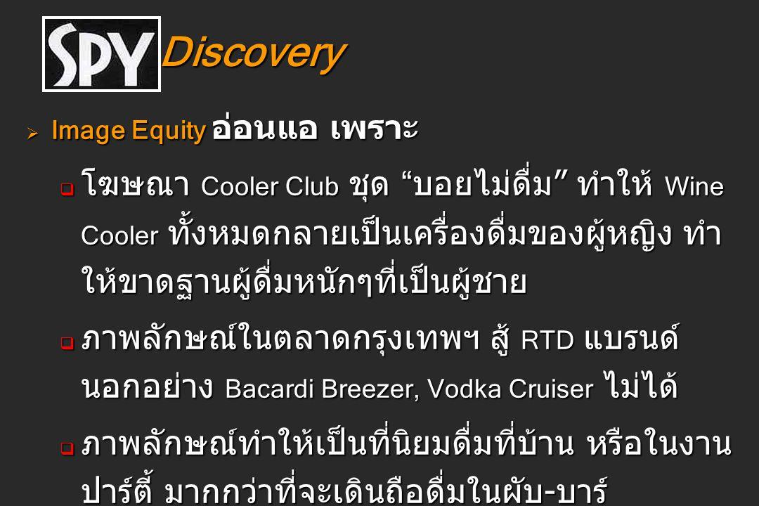 """Discovery Discovery  Image Equity อ่อนแอ เพราะ  โฆษณา Cooler Club ชุด """" บอยไม่ดื่ม """" ทำให้ Wine Cooler ทั้งหมดกลายเป็นเครื่องดื่มของผู้หญิง ทำ ให้ขา"""