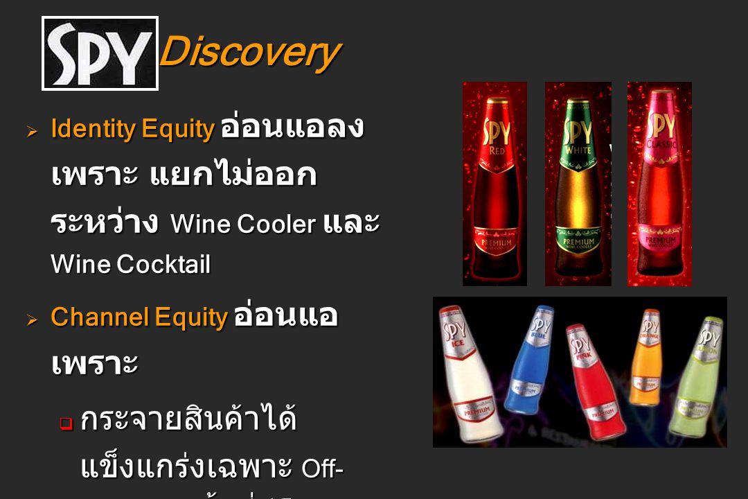Discovery Discovery  Identity Equity อ่อนแอลง เพราะ แยกไม่ออก ระหว่าง Wine Cooler และ Wine Cocktail  Channel Equity อ่อนแอ เพราะ  กระจายสินค้าได้ แ