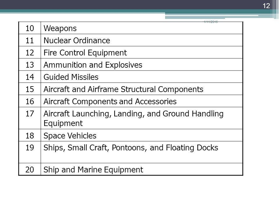 1/11/2015 12 10Weapons 11Nuclear Ordinance 12Fire Control Equipment 13Ammunition and Explosives 14Guided Missiles 15Aircraft and Airframe Structural Components 16Aircraft Components and Accessories 17Aircraft Launching, Landing, and Ground Handling Equipment 18Space Vehicles 19Ships, Small Craft, Pontoons, and Floating Docks 20Ship and Marine Equipment