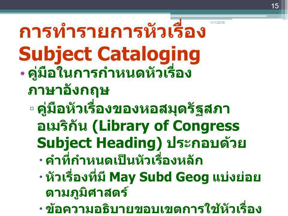 การทำรายการหัวเรื่อง Subject Cataloging คู่มือในการกำหนดหัวเรื่อง ภาษาอังกฤษ ▫ คู่มือหัวเรื่องของหอสมุดรัฐสภา อเมริกัน (Library of Congress Subject He