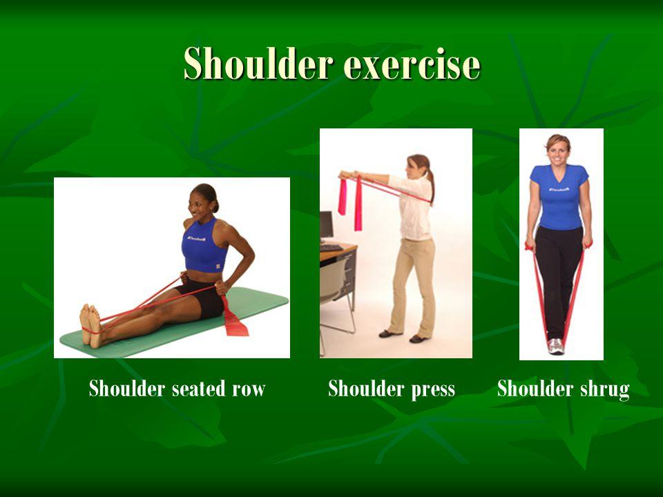Shoulder exercise Shoulder pressShoulder seated rowShoulder shrug