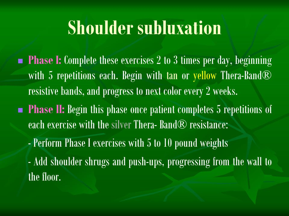 Shoulder subluxation Phase I: Complete these exercises 2 to 3 times per day, beginning with 5 repetitions each. Begin with tan or yellow Thera-Band® r