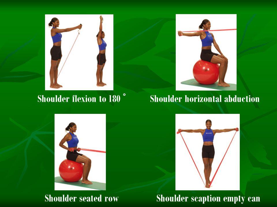 Shoulder flexion to 180 ° Shoulder horizontal abduction Shoulder seated rowShoulder scaption empty can