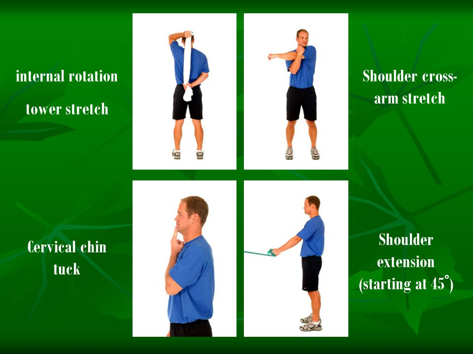 internal rotation tower stretch Shoulder cross- arm stretch Cervical chin tuck Shoulder extension (starting at 45 ° )
