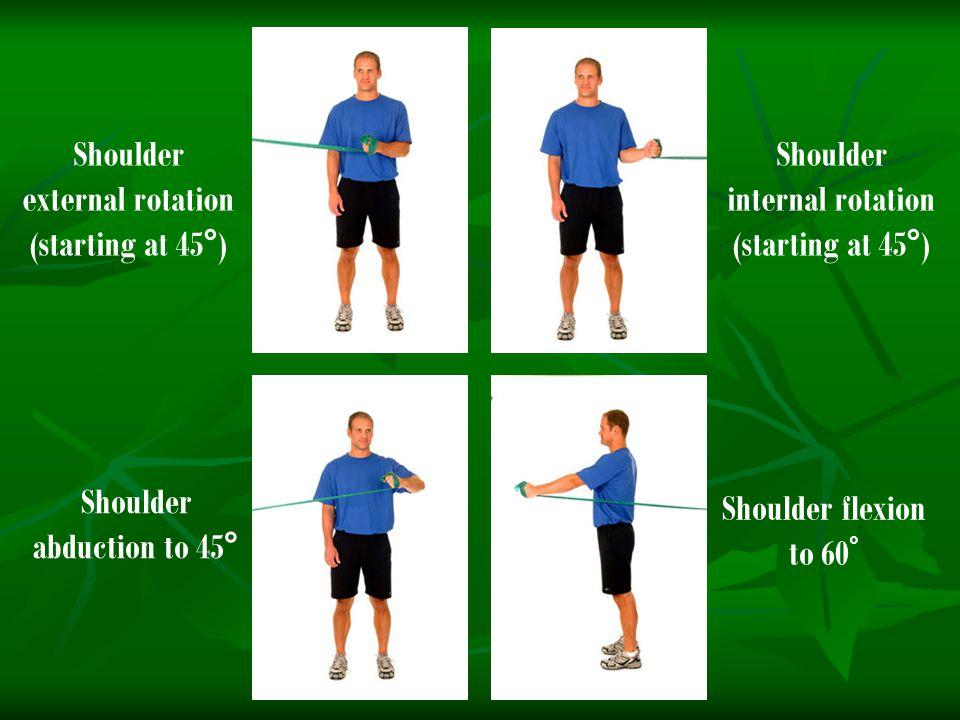 Shoulder external rotation (starting at 45°) Shoulder internal rotation (starting at 45°) Shoulder abduction to 45° Shoulder flexion to 60 °