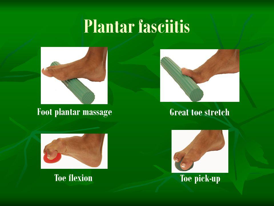 Plantar fasciitis Toe flexion Toe pick-up Foot plantar massage Great toe stretch