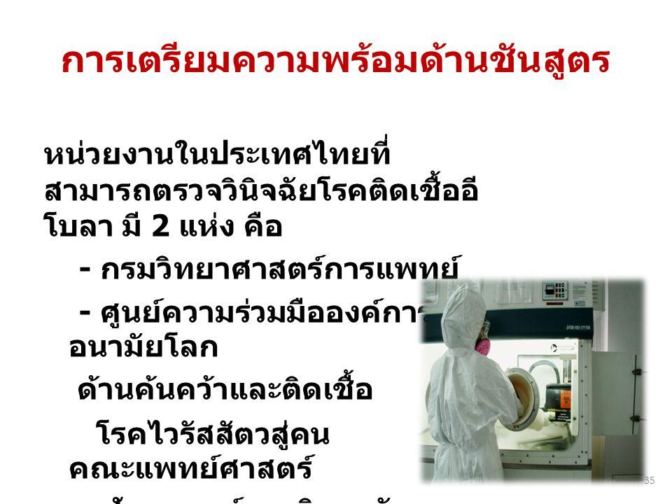 หน่วยงานในประเทศไทยที่ สามารถตรวจวินิจฉัยโรคติดเชื้ออี โบลา มี 2 แห่ง คือ - กรมวิทยาศาสตร์การแพทย์ - ศูนย์ความร่วมมือองค์การ อนามัยโลก ด้านค้นคว้าและต