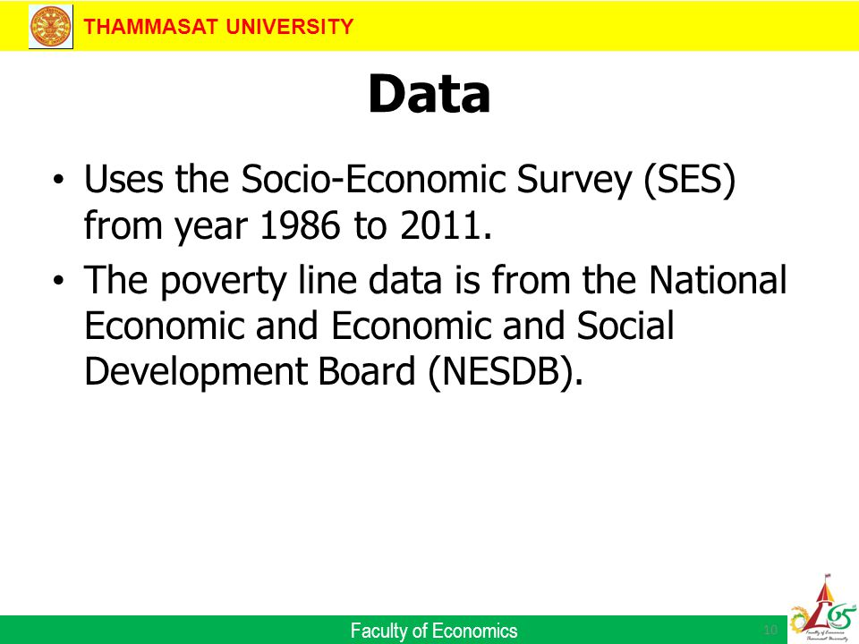 THAMMASAT UNIVERSITY Faculty of Economics Data Uses the Socio-Economic Survey (SES) from year 1986 to 2011.