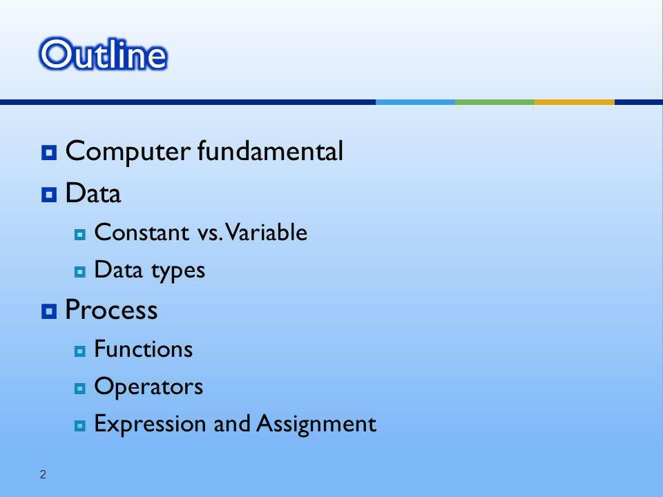  เพื่อให้นิสิตเข้าใจความแตกต่างของค่าคงที่และ ตัวแปร  เพื่อให้นิสิตรู้จักชนิดข้อมูลต่างๆ ในภาษา โปรแกรม  เพื่อให้นิสิตรู้จักฟังก์ชัน, ตัวดำเนินการ, นิพจน์  เพื่อให้นิสิตเข้าใจการทำงานของตัวดำเนินการ พื้นฐาน  เพื่อให้นิสิตสามารถเขียนและอธิบายคำสั่ง พื้นฐานของโปรแกรมได้ 3