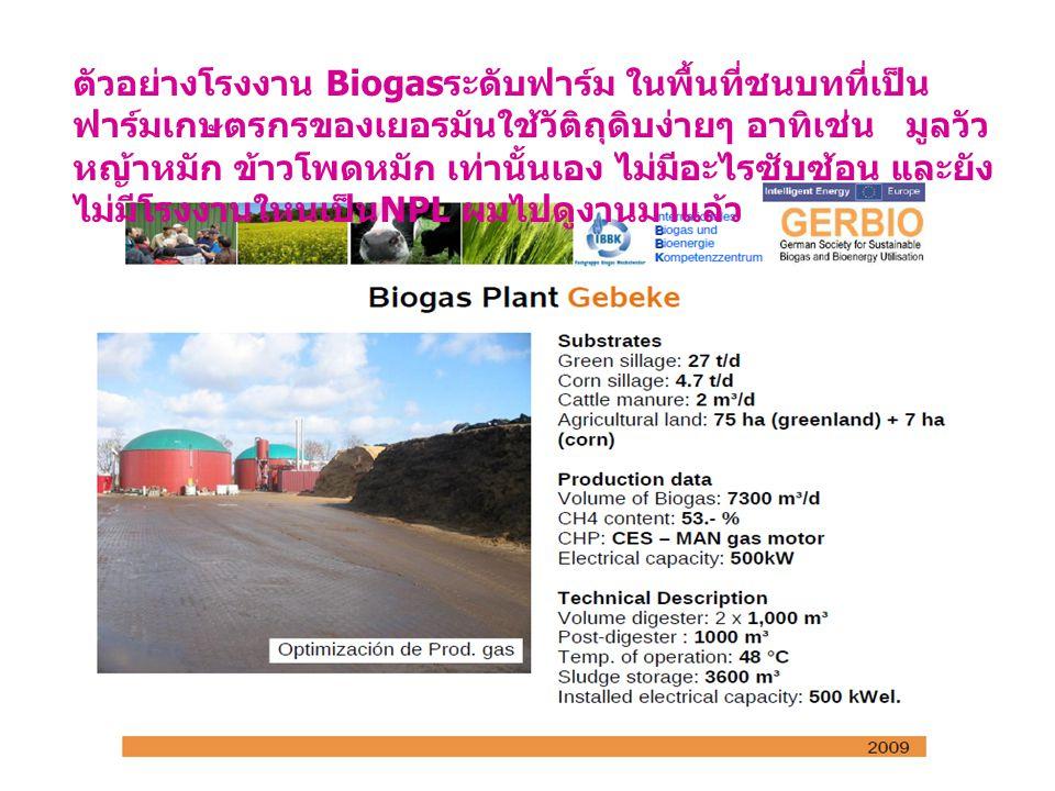 ตัวอย่างโรงงาน Biogas ระดับฟาร์ม ในพื้นที่ชนบทที่เป็น ฟาร์มเกษตรกรของเยอรมันใช้วัติถุดิบง่ายๆ อาทิเช่น มูลวัว หญ้าหมัก ข้าวโพดหมัก เท่านั้นเอง ไม่มีอะไรซับซ้อน และยัง ไม่มีโรงงานใหนเป็น NPL ผมไปดูงานมาแล้ว