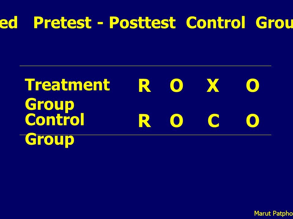 Randomized Pretest - Posttest Control Group Design XO OC R R Treatment Group Control Group O O Marut Patphol: 2014