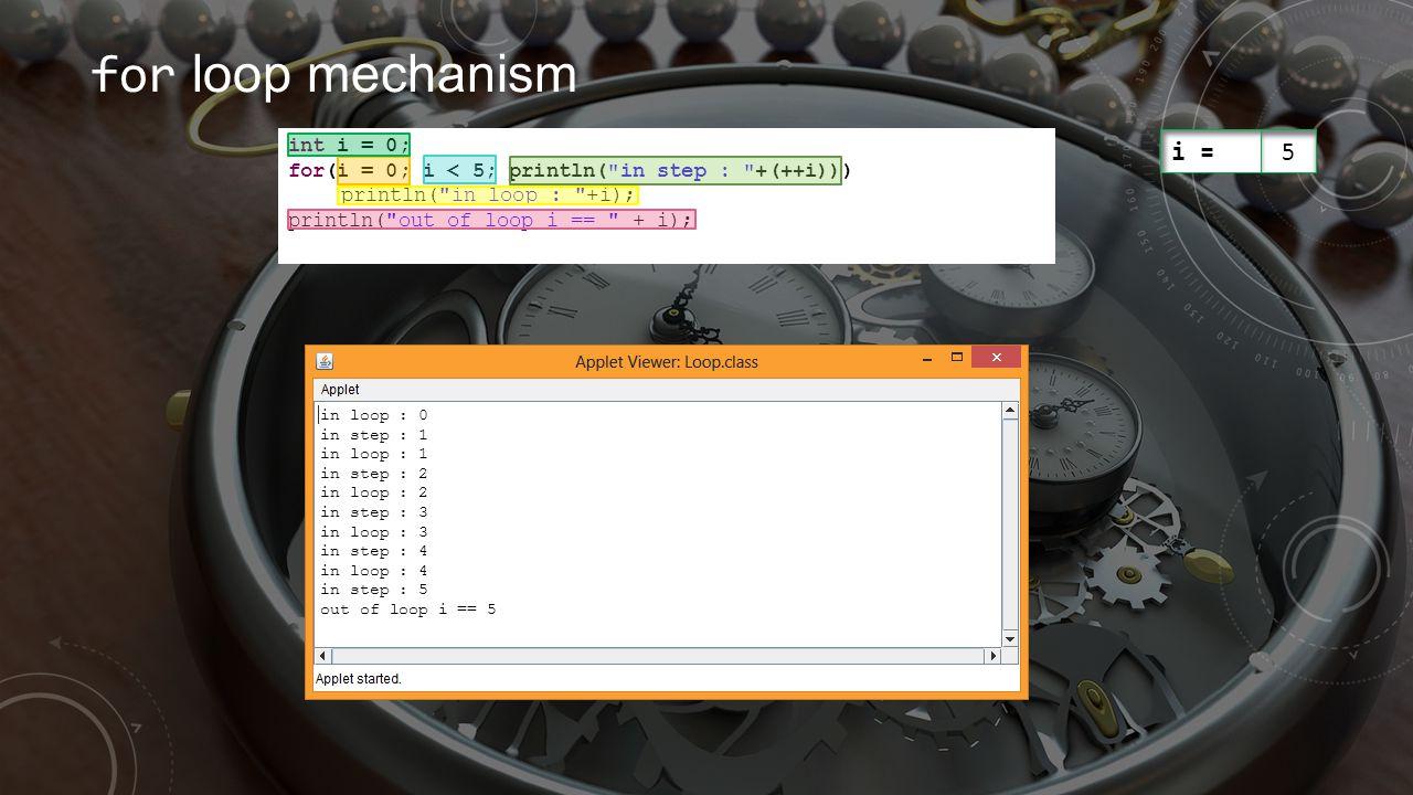 for loop mechanism int i = 0; for(i = 0; i < 5; println(