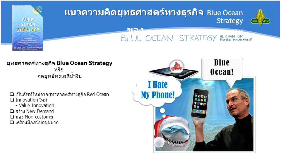 ยุทธศาสตร์ทางธุกิจ Blue Ocean Strategy หรือ กลยุทธ์ทะเลสีน้ำงิน  เป็นศัพท์ใหม่จากยุทธศาสตร์ทางธุกิจ Red Ocean  Innovation ใหม่ - Value Innovation  สร้าง New Demand  มอง Non-customer  เครื่องมือสนับสนุนมาก แนวความคิดยุทธศาสตร์ทางธุรกิจ แนวความคิดยุทธศาสตร์ทางธุรกิจ Blue Ocean Strategy ของ W.