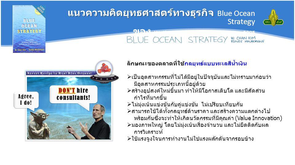 ลักษณะของตลาดที่ใช้กลยุทธ์แบบทะเลสีน้ำเงิน  เป็นอุตสาหกรรมที่ไม่ได้มีอยู่ในปัจจุบันและไม่ทราบมาก่อนว่า มีอุตสาหกรรมประเภทนี้อยู่ด้วย  สร้างอุปสงค์ใหม่ขึ้นมา ทำให้มีโอกาสเติบโต และมีสัดส่วน กำไรที่มากขึ้น  ไม่มุ่งเน้นแข่งขันกับคู่แข่งขัน ไม่เปรียบเทียบกัน  สามารถใช้ได้ทั้งกลยุทธ์ด้านราคา และสร้างความแตกต่างไป พร้อมกันซึ่งจะทำให้เกิดนวัตกรรมที่มีคุณค่า (Value Innovation)  มองภาพใหญ่ โดยไม่มุ่งเน้นเรื่องจำนวน และไม่ยึดติดกับผล การวิเคราะห์  ใช้แรงจูงใจนการทำงานไม่ใช่แรงผลักดันจากรอบข้าง แนวความคิดยุทธศาสตร์ทางธุรกิจ แนวความคิดยุทธศาสตร์ทางธุรกิจ Blue Ocean Strategy ของ W.